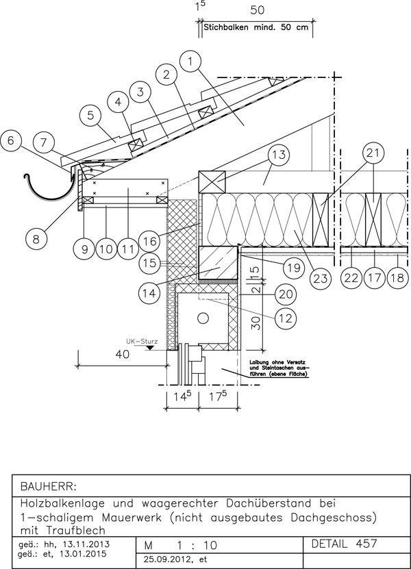Traufdetail kein dachüberstand  457 Holzbalkenlage+waager. Dachüberstand, 1-schal. MW - AVAnet